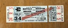 RARE 1976 Buffalo Braves Full Unused Ticket vs Rockets-Stub detached AUD WOW!!
