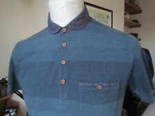 TED BAKER PENNY COLLAR POLO SHIRT size 2 = S  slim fit  *MINT* chambray trim t