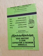 Vintage Matchbook Holiday Inn Richelieu Montreal Canada Exposition Reunion Green