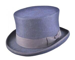 Mens Navy TOP HAT 100% Wool High Quality Wedding Ascot Party Hat-iHATS London UK