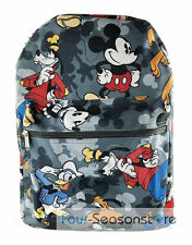 """Disney Mickey Mouse, Donald Duck, Goofy All Printed 16"""" School Black Backpack"""