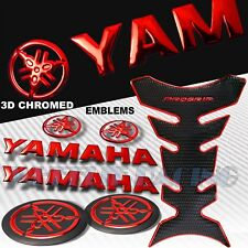 CHROMED RED+BLACK PRO GRIP TANK PAD+3D YAMAHA LOGO+LETTER EMBLEM+BADGE STICKER