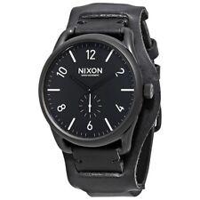 Nixon C45 Reloj de Pulsera de Cuero (Todo en Negro/Blanco/Negro Puño )