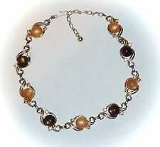 VINTAGE - COCOA & CARAMEL MOONGLOW & RHINESTONE CHOKER NECKLACE - UP TO 17""