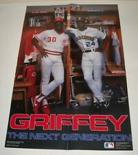 1990 KEN GRIFFEY & Jr thee NEXT GENERATION BASEBALL POSTER 16 x 24 REDS MARINERS