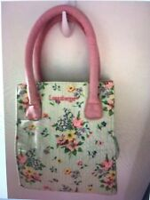 Longaberger Purse Basket Homestead Fabric Light Green Floral Pink Handle Lunch B