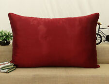Home Decor Pillow Sham Satin Silk Solid Throw Cushion Cover Bed Case Choose Size