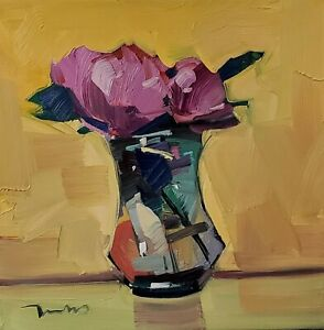 JOSE TRUJILLO Oil Painting IMPRESSIONISM STILL LIFE PINK ROSES CONTEMPORARY