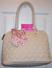NWT BETSEY JOHNSON DOME SATCHEL *BE MINE BONE* IVORY PUFFY HEART DESIGN