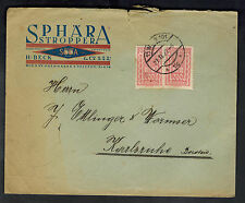 1922 Vienna Austria Commercial Cover to Karlsruhe Germany Sphara Stropper