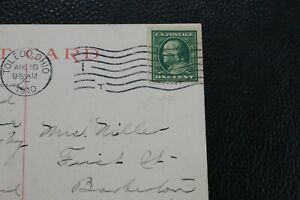 Benjamin Franklin Green One Cent US Postage Stamp on VTG Postcard Toledo, Ohio