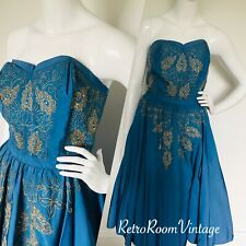 Vivid blue vintage original 1950s dress.