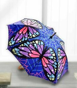 Full Size Classic Satin Butterfly Design Umbrella With Wood Handle