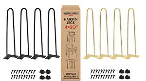 "Metal Hairpin Rod Table Desk Iron Legs 20"" Heavy Duty Furniture Industrial 4PCS"