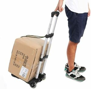 Folding Hand Truck Dolly Luggage Cart Portable Aluminum Utility Cart w/ 2 Wheels