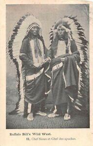 2 INDIAN CHIEFS WITH BUFFALO BILL'S WILD WEST SHOW POSING, SOUVENIR PC 1907-14
