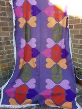 Vintage 1970's Single Vibrant Purple Flower Power Fringe Cotton Bedspread.