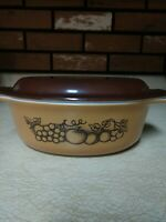 Vintage Pyrex Old Orchard 043 Oval Casserole Dish w/ Lid Tan Brown Fruit Pattern