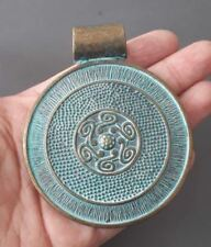 "3""-large round pendant-Patina brass tone round disc pendant, choker pendant"