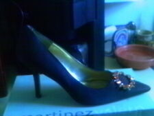 MARTINEZ VALERO BROWN SATIN AMBER BLING POINTY TOE PUMP 10 M