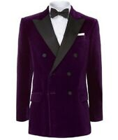 Purple Double Breasted Velvet Jacket Man Suit Wedding Groom Tuxedo Evening Party