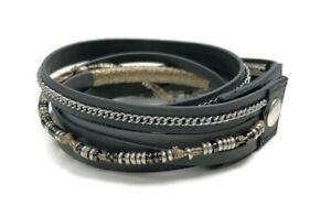 Stella & Dot Yves Leather Wrap Bracelet Grey Leather Bead
