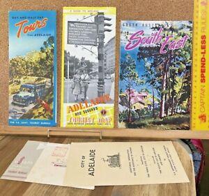 1950s SOUTH AUSTRALIAN TOURIST BUREAU BUNDLE! MAPS BROCHURES TOURS NEAR ADELAIDE