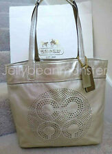 COACH 17041 AUDREY PERFORATED OP ART LEATHER SLIM TOTE BAG Gold NEW TAG