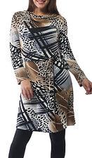 Orientique Long Sleeve Stretch Jersey Print Dress,Multi-Coloured Dress Size 8