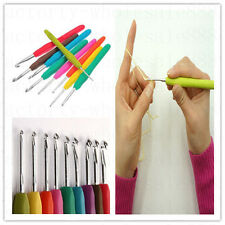 9Pcs Multicolor Soft Plastic Handle Aluminum Crochet Hooks Knitting Needles Set