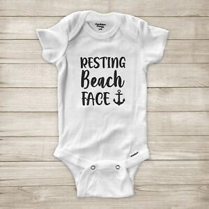 Resting Beach Face Funny Pun Summer Vacation Cruise Trip Baby Infant Bodysuit