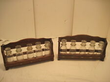 OLD VINTAGE WALL WOOD-WOODEN SPICE RACK GLASS BOTTLES