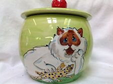 Hand Painted Kitty Cat Treat Jar signed by Debby Carman Faux Paw Productions