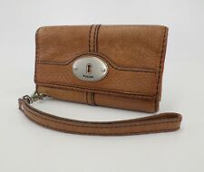 Fossil Pebbled Leather Wallet Wristlet Brown