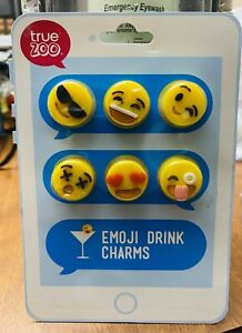 True Fabrications TrueZoo Emoji Wine Glass Charms / Drink Markers - Set of 6
