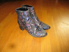 Ladies Unisa Blue Black Pink Gold Floral Fabric Ankle Boots Size 6.5M