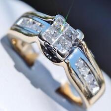 14k multi tone gold size 6 engagement ring 0.50ct invisible set diamond 6.2gr