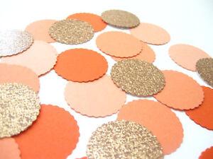 """Confetti 1"""" Paper Circles Copper Orange Peach Wedding Birthday Party Decor"""
