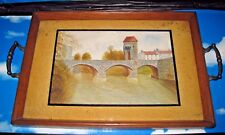 Vintage Wooden Tray with Glass Covered Hand Painted Scene