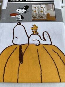 Peanuts Snoopy Pumpkin Fall Theme Shower Curtain Cotton 72X72 Woodstock NWT