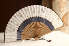Chinese Japanese Folding Two Section Hand Flower Bamboo Pocket Fan Pink Grey