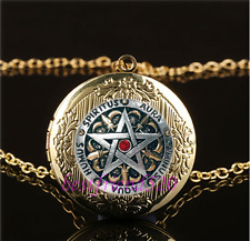 Metal Pentagram Photo Cabochon Glass Gold Plating Locket Pendant Necklace