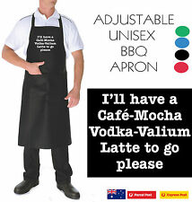 Cafe mocha coffee vodka valium FUNNY NEW BBQ APRON ADJUSTABLE new Men's Women's