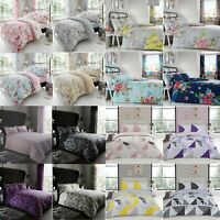 Printed Duvet Quilt Cover Reversible Bedding Set Single Double King Super King