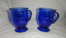Starbucks Cobalt Blue Glass Footed Anchor Hocking Mugs Set of 2 Etched Script