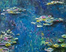 Modern Original Painting Texture Palette Knife Water Lillies Monet Style Anya