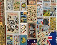 4x Australia Souvenir Tea Towels Linen Assort Designs 100% Cotton Mix Designs