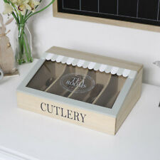 Wooden cutlery storage box kitchen decor & accessories vintage shabby chic home