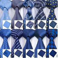 Classic Blue Mens Tie Silk 68 Style Paisley Solid Stripe Jacquard Necktie Set