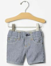 GAP Baby / Toddler Boys 18-24 Months NWT Blue Pull-On Striped Denim Shorts Jeans